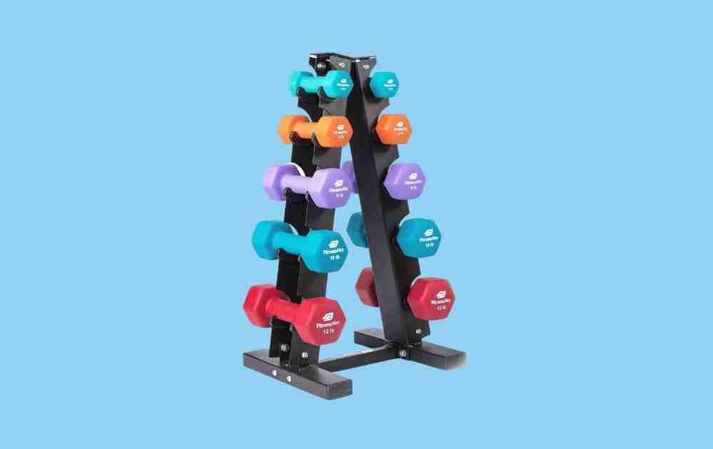 Fitness Alley Neoprene Dumbbell Set with Steel Rack